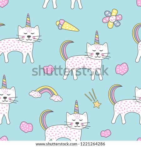 Childish seamless pattern with cute cats unicorn. Creative texture for fabric, textile.
