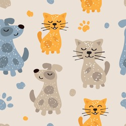 Childish seamless pattern with cute dogs and cats. Scandinavian style. Childish texture for fabric, textile.