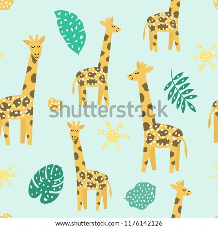 Childish seamless pattern with cute giraffe. Creative texture for fabric, textile.