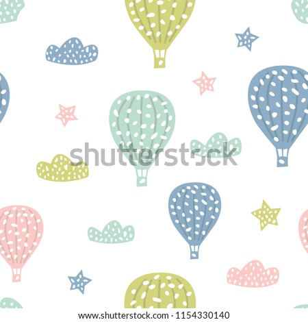 Childish seamless pattern with cute hot air balloon. Creative texture for fabric, textile