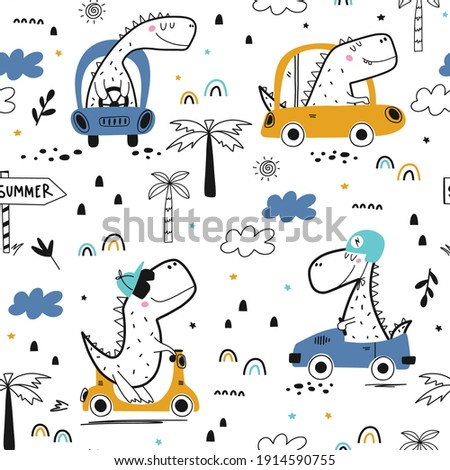 Childish seamless pattern with dinosaur driver in summer time. Vacation adventure concept.Vector illustration design for fashion fabrics, textile graphics, prints.