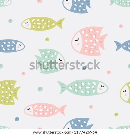 Childish seamless pattern with fish. Creative texture for fabric, textile.