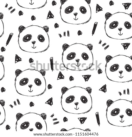 Childish seamless pattern with hand drawn pandas. Trendy scandinavian vector background. Perfect for kids apparel,fabric, textile, nursery decoration,wrapping paper
