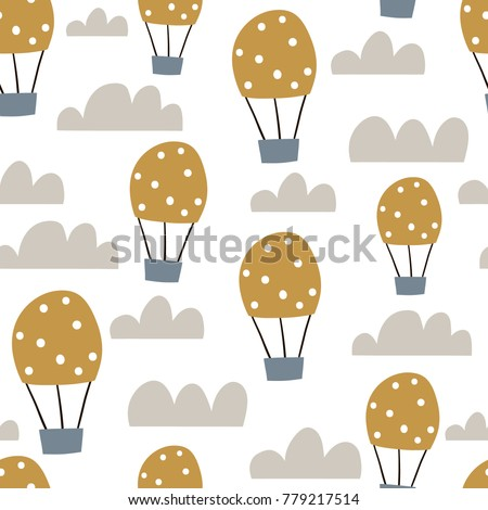 Childish seamless pattern with hot air ballon in the sky. Cute cartoon background. Perfect for fabric, textile, wrapping.Vector Illustration