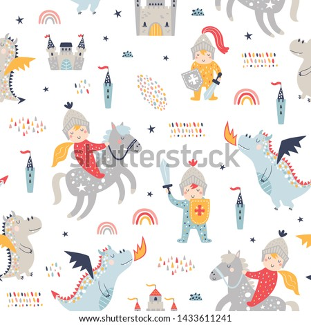 Childish seamless pattern with knight, dragon and castle Foto stock ©