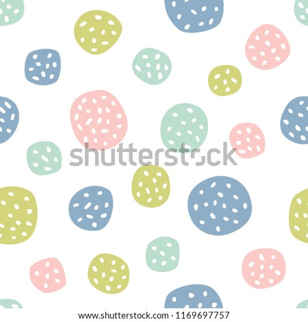 Childish seamless pattern with polka dots. Creative texture for fabric, textile