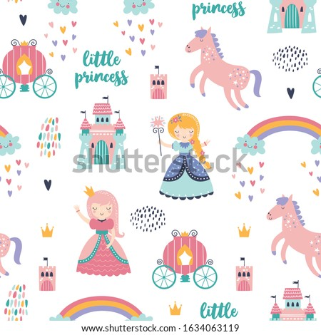 Childish seamless pattern with princess, castle, carriage in scandinavian style. Creative vector childish background for fabric, textile Сток-фото ©