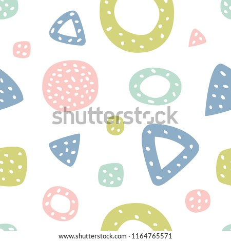 Childish seamless pattern with triangles and polka dots. Creative texture for fabric, textile