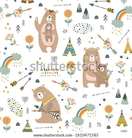 Childish seamless vector pattern with cute bears in cartoon style. Creative vector childish background for fabric, textile, apparel  Stock photo ©