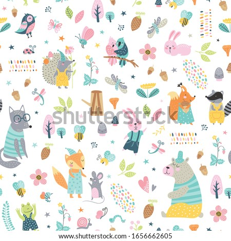 Childish seamless vector pattern with cute woodland animals in cartoon style. Creative vector childish background for fabric, textile. Stock photo ©