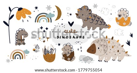 Childish set with cute dino characters. Dinosaur animals collection: mom and baby dino in egg. Vector cartoon doodle set of nature elements for nursery prints or design