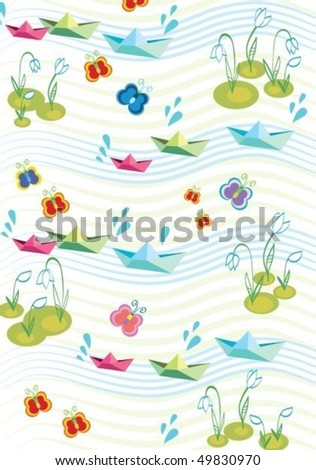 Childish spring background with paperships