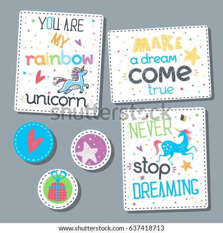 childish sticker set lettering