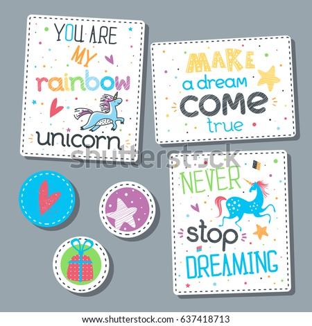 childish sticker set lettering