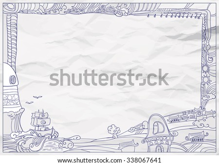 childish style ink drawing frame outdoor village vector illustration - Drawing Frame