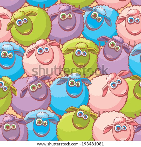 Childish Wallpaper With Cartoon Funny Sheep Vector Seamless Pattern