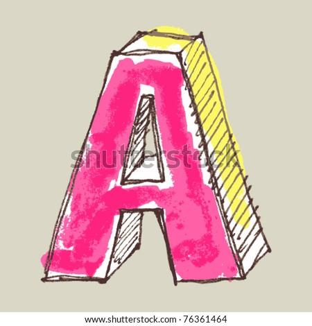 childlike gouache alphabet, hand drawn letter A