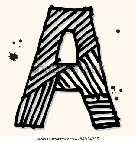 childlike ink alphabet, hand drawn letter A