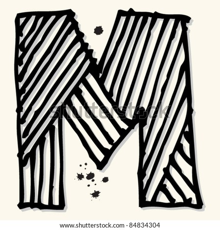 childlike ink alphabet, hand drawn letter M