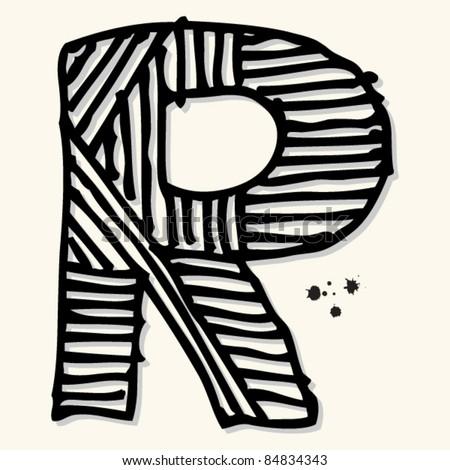 childlike ink alphabet, hand drawn letter R