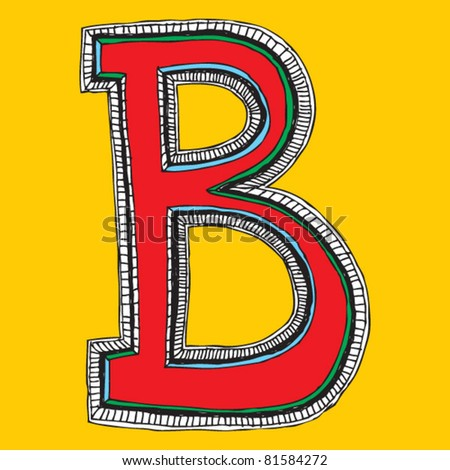 childlike naive alphabet, hand drawn letter B