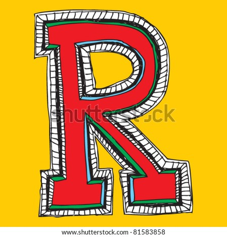 childlike naive alphabet, hand drawn letter R