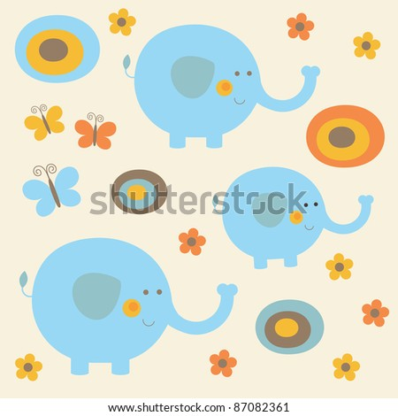 childlike pattern with cute elephant. vector illustration