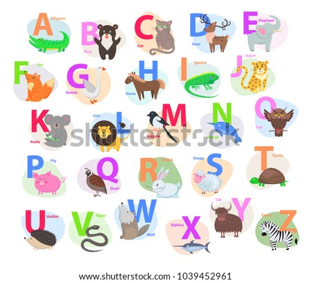 children abc with cute animals...