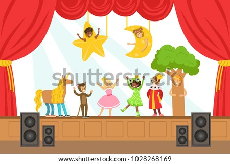 Children Actors Performing Fairy-Tale On Stage On Talent Show Colorful Vector Illustration With Talented Schoolkids Theatre Performance