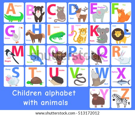 Children alphabet with animals. Letters A, B, C, D, E, F, G, H, I, J, K, L, M, N, O, P, Q, R, S, T, U, V, W, X, Y, Z. Alphabet learning chart with animals for letter animal name. Vector zoo alphabet