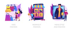Children and adults clothes flat icons set. Female sportswear, male formal wear. Kids fashion, workout fashion, mens style and fashion metaphors. Vector isolated concept metaphor illustrations.