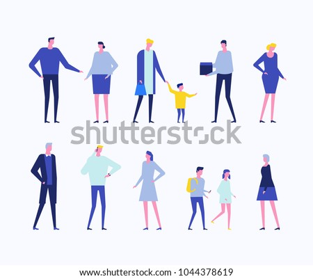 Children and adults - flat design style set of isolated characters on white background. Cartoon young parents in casual clothes with their kids in different situations