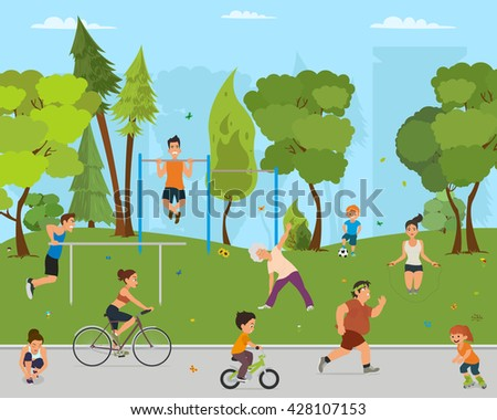 children and adults involved in sports outdoors.vector. people engaged in outdoor sports. women engaged in outdoor sports. men do outdoor sports. active sports in a city park on the playground.