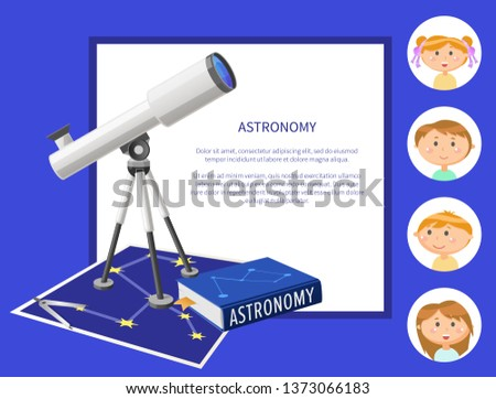 Children and astronomy poster with text vector, kids in frames. Schoolboy and schoolgirl with telescope and science about stars and planets researches