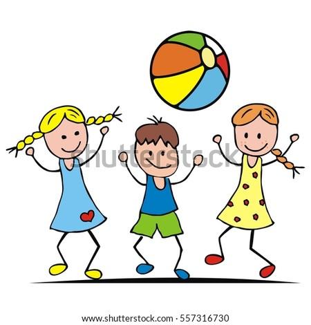 children and ball two girls