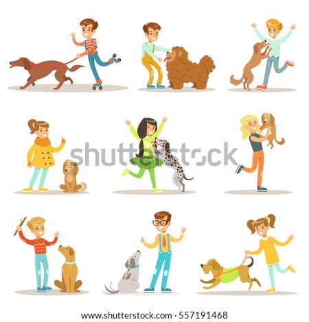 children and dogs illustrations