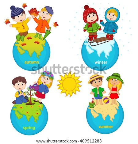 children and four seasons on the planet - vector illustration, eps