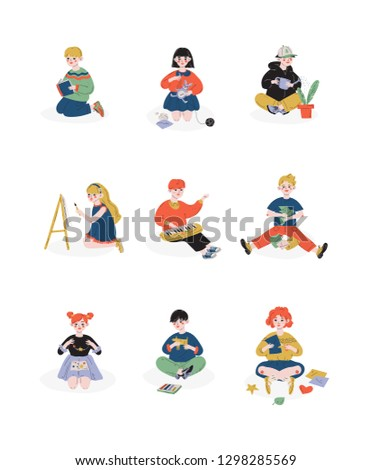 Children and their hobbies set, Boys and Girls Caring for Plants, Reading, Painting, Needlework, Hobby, Education, Creative Child Development Vector Illustration