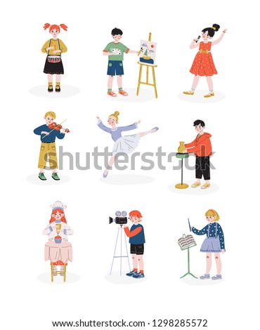 Children and their hobbies set, Boys and Girls Playing Music, Dancing, Singing, Cooking Hobby, Education, Creative Child Development Vector Illustration