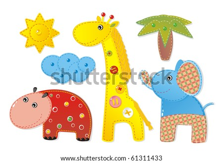 Children Applique 'Africa': elephant, hippopotamus and giraffe