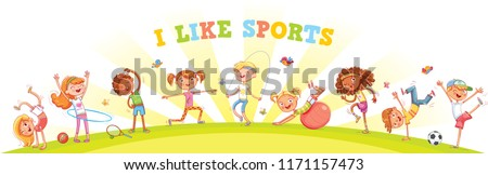Children are engaged in different kinds of sports on nature background. Children's panorama for your design. Template for advertising brochure or web site. Funny cartoon character. Vector illustration