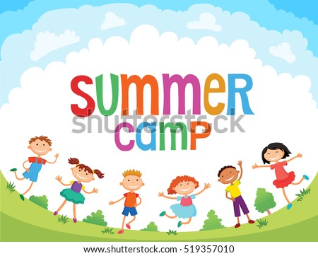 children are jumping on the glade, bunner cartoon funny vector, Ready for your message. blank template character. illustration summer camp
