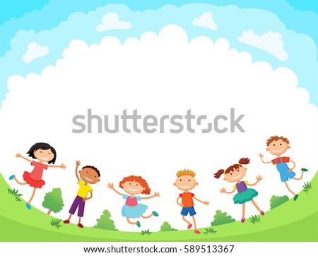 children are jumping on the glade, bunner cartoon funny vector, Ready for your message. blank template character. illustration