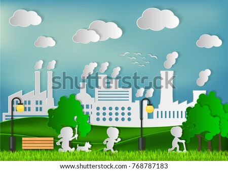 Children are playing at the lawn. In green factory concept. paper art and craft style.