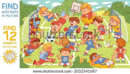 Children are playing football. Find mismatch. Find artist mistakes. Find 12 rabbits in the picture. What's going on here. Puzzle Hidden Items.  Funny cartoon character. Vector illustration. Set