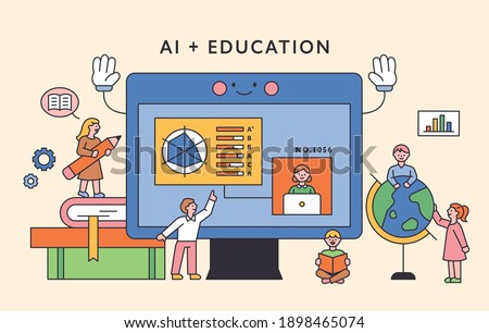 Children are studying around a large computer monitor. flat design style minimal vector illustration.
