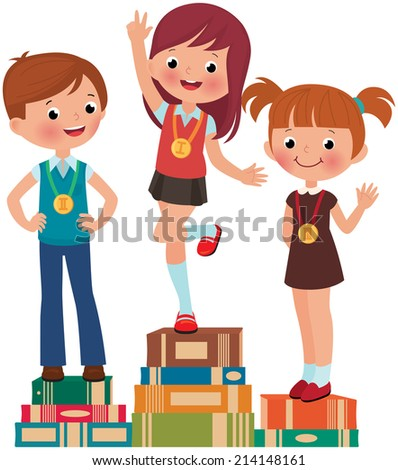 Children are the best students on a pedestal from books/Best students/Illustration of three student competition winner