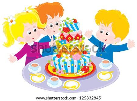 children around a big colorful cake