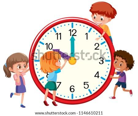Children around a clock illustration