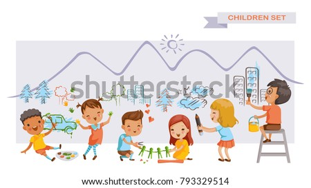 Children art group. Cute kids painting and drawings on the wall. Children's Growing Learning Concept. Funny cartoon character. Vector illustration. Isolated on white background.